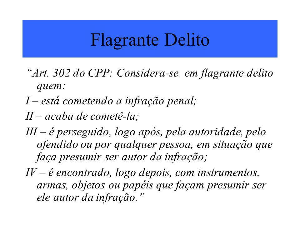 Flagrante Delito Art. 302 do CPP: Considera-se em flagrante delito quem: I – está cometendo a infração penal;