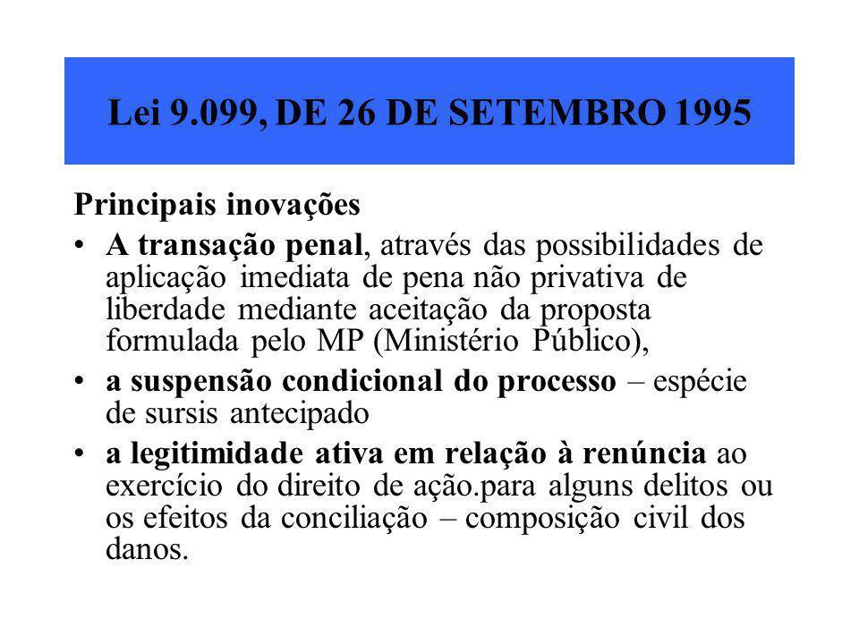 Lei 9.099, DE 26 DE SETEMBRO 1995 Principais inovações