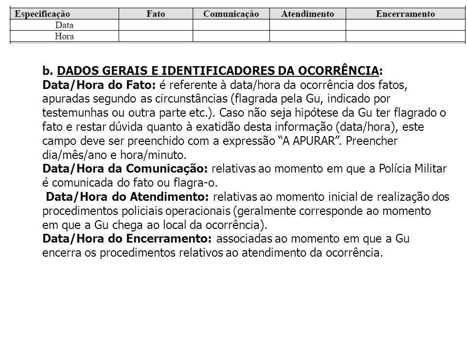 b. DADOS GERAIS E IDENTIFICADORES DA OCORRÊNCIA:
