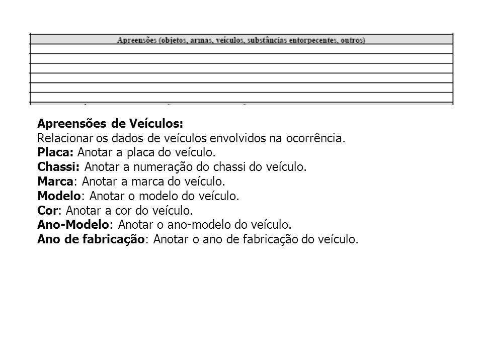 Apreensões de Veículos: