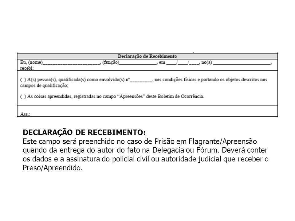 DECLARAÇÃO DE RECEBIMENTO: