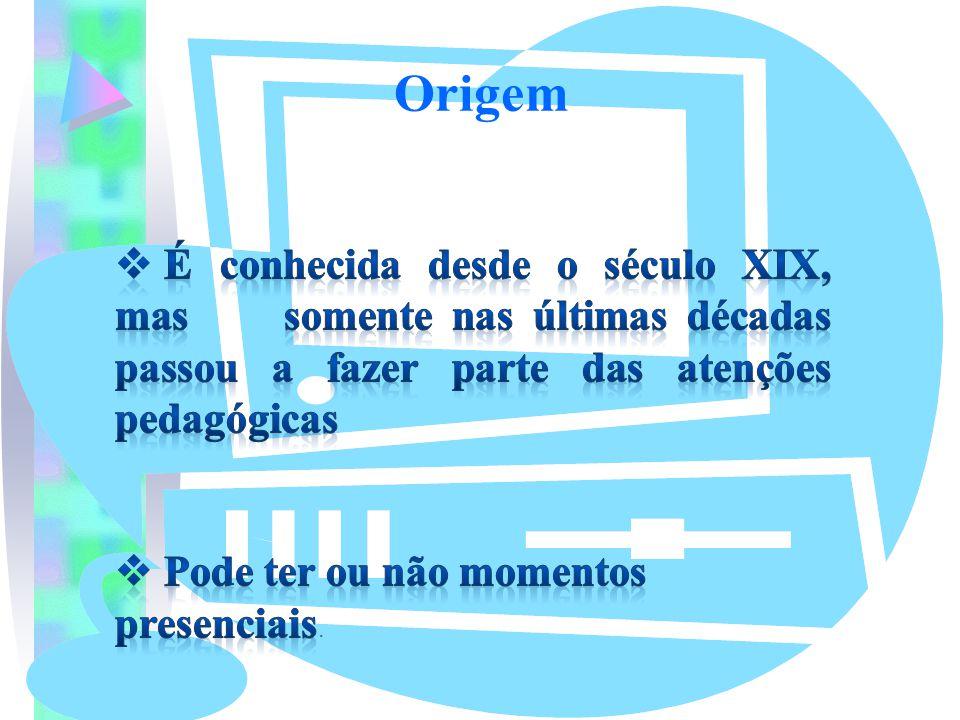 Origem É conhecida desde o século XIX, mas somente nas últimas décadas passou a fazer parte das atenções pedagógicas.
