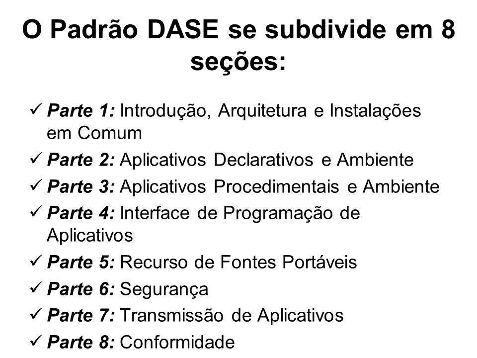 O Padrão DASE se subdivide em 8 seções: