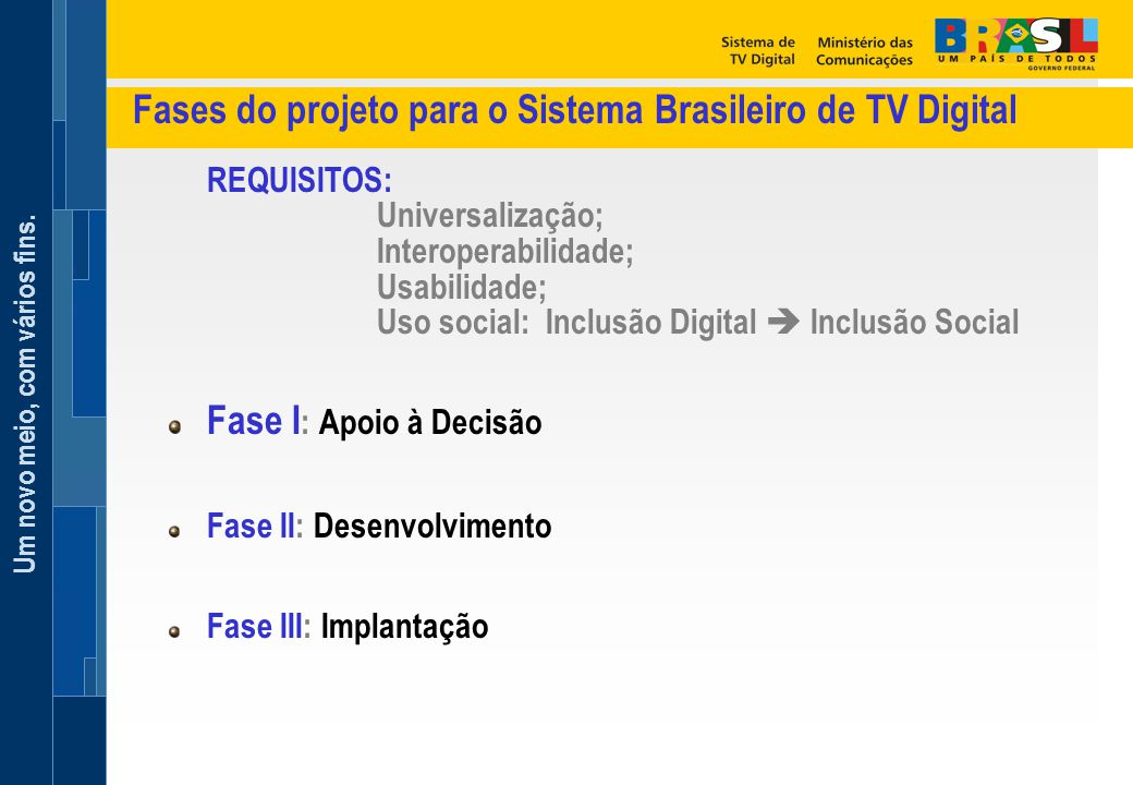 Fases do projeto para o Sistema Brasileiro de TV Digital