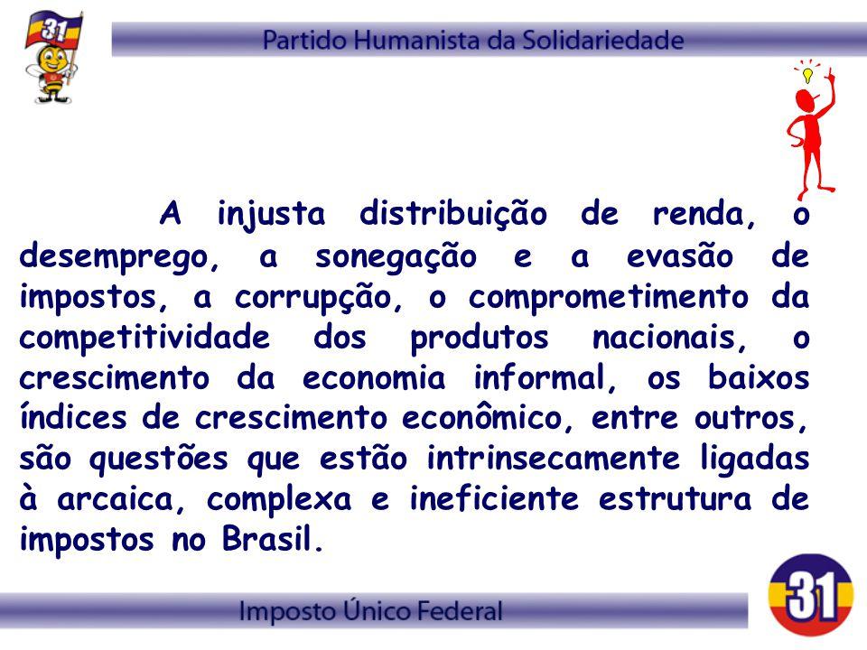 A injusta distribuição de renda, o desemprego, a sonegação e a evasão de impostos, a corrupção, o comprometimento da competitividade dos produtos nacionais, o crescimento da economia informal, os baixos índices de crescimento econômico, entre outros, são questões que estão intrinsecamente ligadas à arcaica, complexa e ineficiente estrutura de impostos no Brasil.