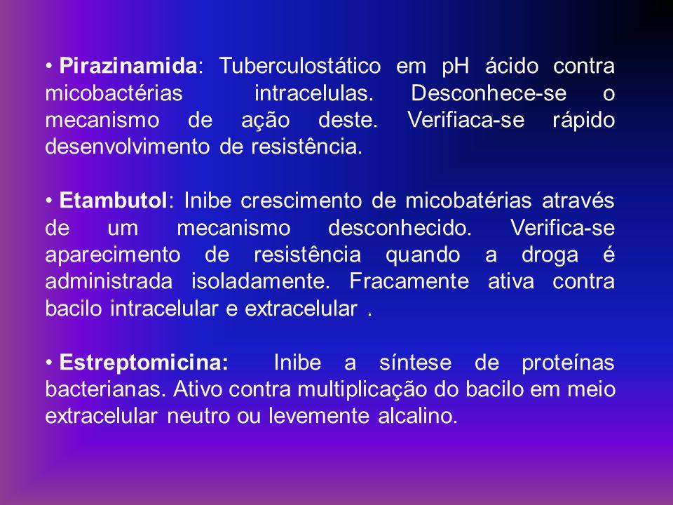 Pirazinamida: Tuberculostático em pH ácido contra micobactérias intracelulas. Desconhece-se o mecanismo de ação deste. Verifiaca-se rápido desenvolvimento de resistência.