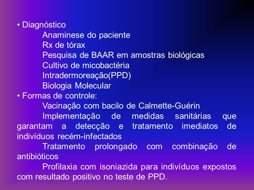 Diagnóstico Anaminese do paciente. Rx de tórax. Pesquisa de BAAR em amostras biológicas. Cultivo de micobactéria.