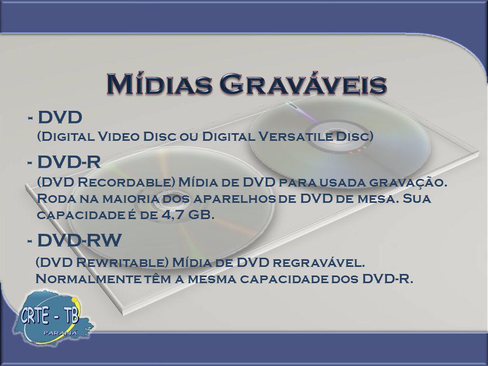 Mídias Graváveis - DVD - DVD-R - DVD-RW