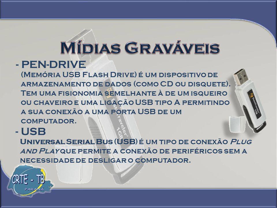 Mídias Graváveis - PEN-DRIVE - USB