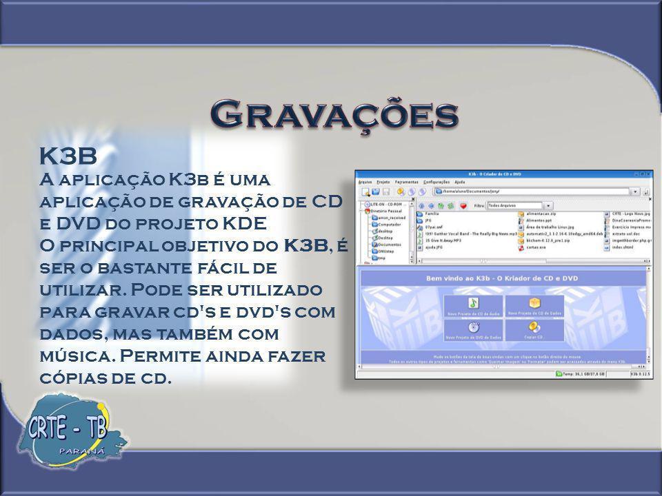 Gravações K3B. A aplicação K3b é uma aplicação de gravação de CD e DVD do projeto KDE.
