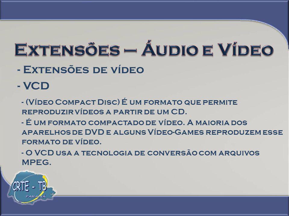 Extensões – Áudio e Vídeo
