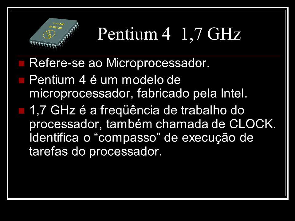 Pentium 4 1,7 GHz Refere-se ao Microprocessador.