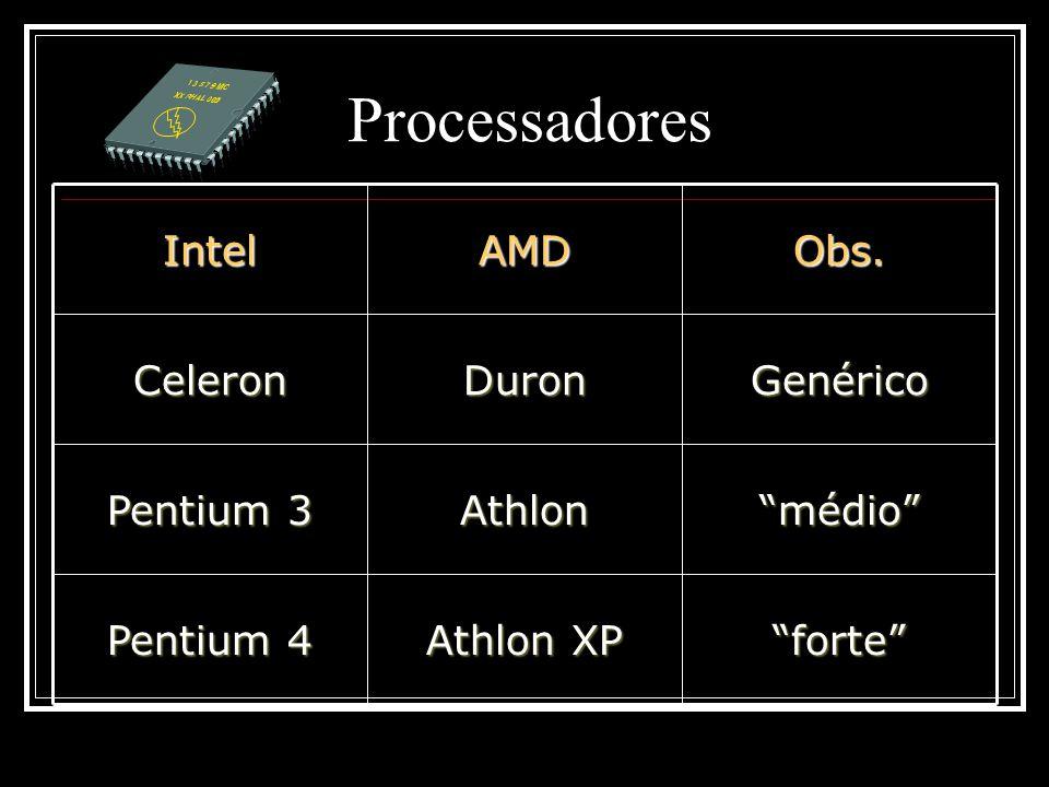 Processadores forte Athlon XP Pentium 4 médio Athlon Pentium 3