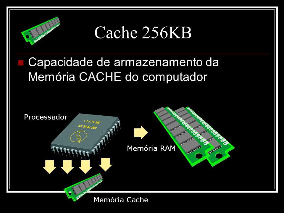 Cache 256KB Capacidade de armazenamento da Memória CACHE do computador