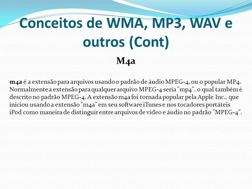Conceitos de WMA, MP3, WAV e outros (Cont)