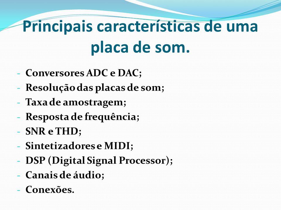 Principais características de uma placa de som.