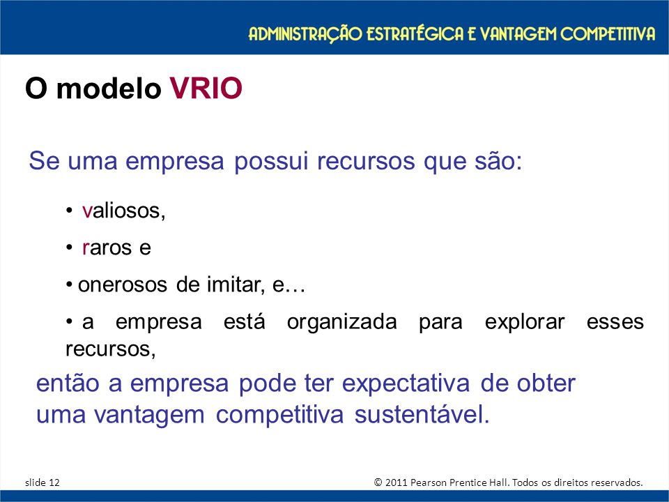O modelo VRIO Se uma empresa possui recursos que são: