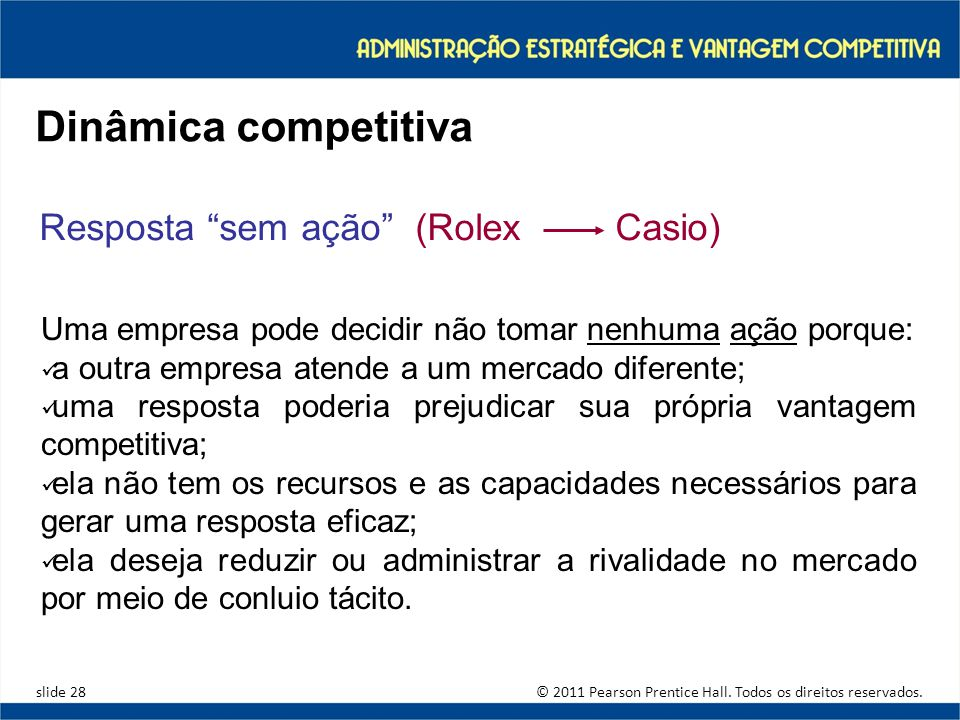 Dinâmica competitiva Resposta sem ação (Rolex Casio)