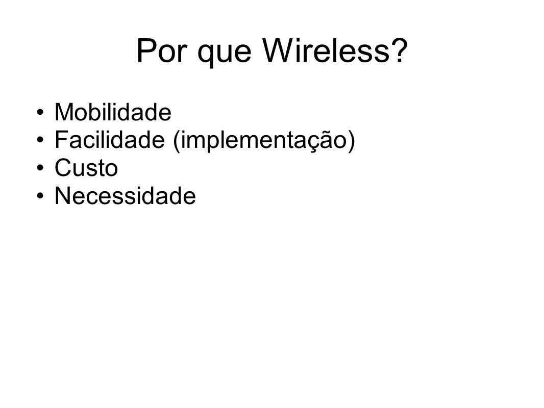 Por que Wireless Mobilidade Facilidade (implementação) Custo