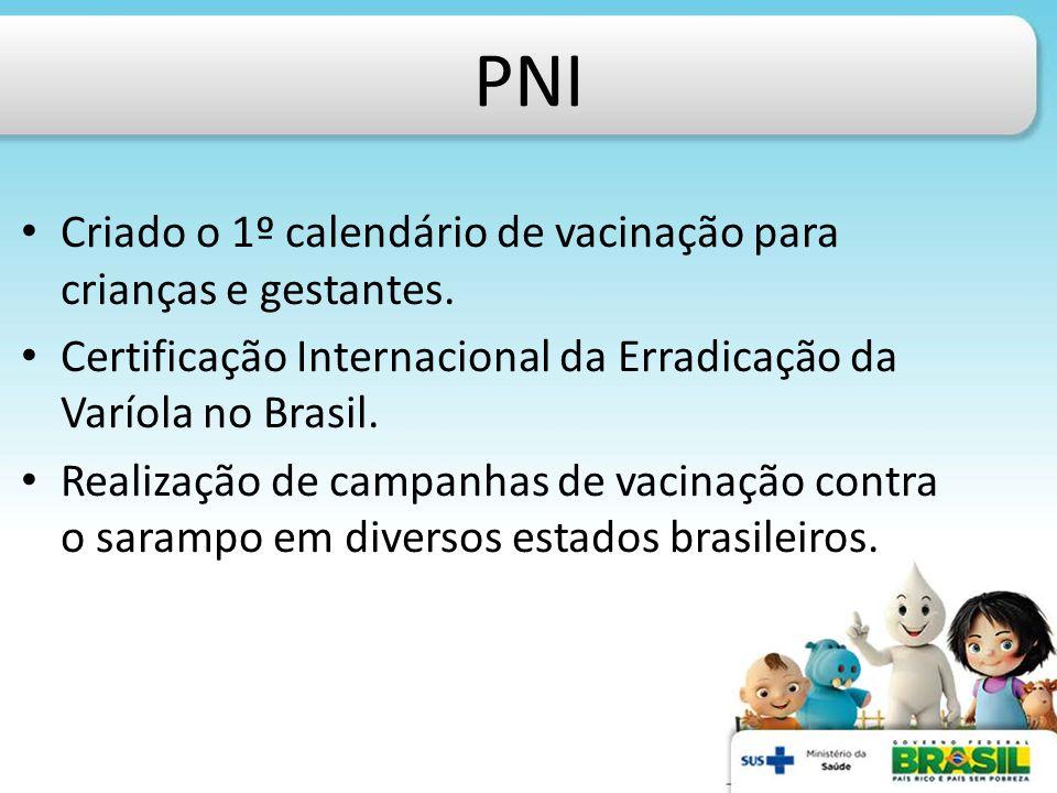 PNI Criado o 1º calendário de vacinação para crianças e gestantes.