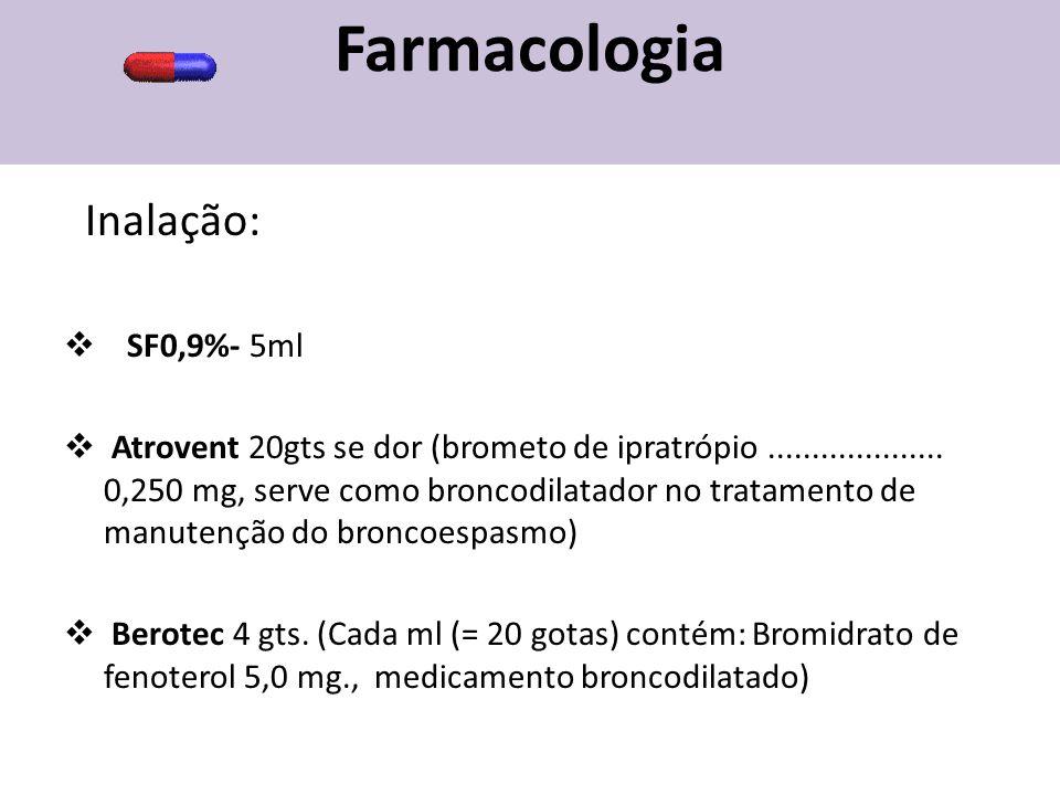 Farmacologia Inalação: SF0,9%- 5ml