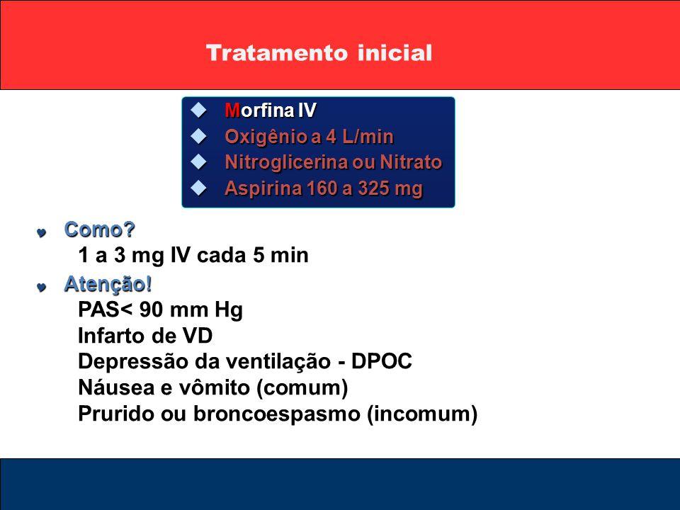 Tratamento inicial 1 a 3 mg IV cada 5 min PAS< 90 mm Hg