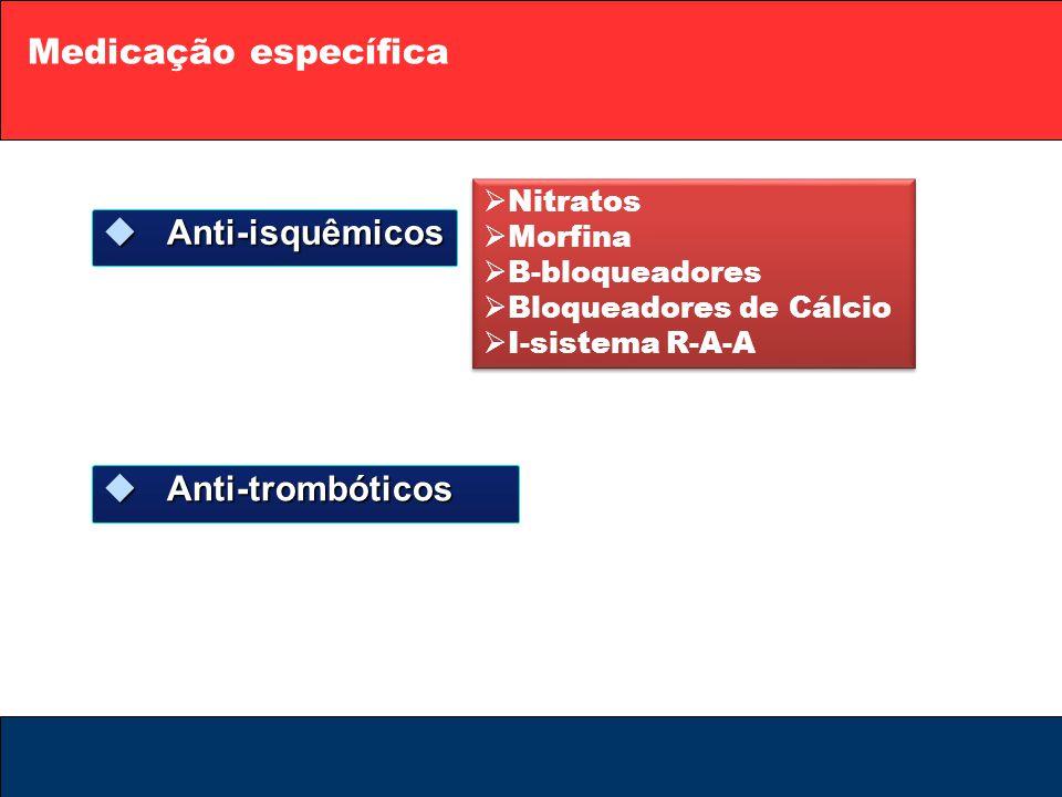 Medicação específica Anti-isquêmicos Anti-trombóticos Nitratos Morfina