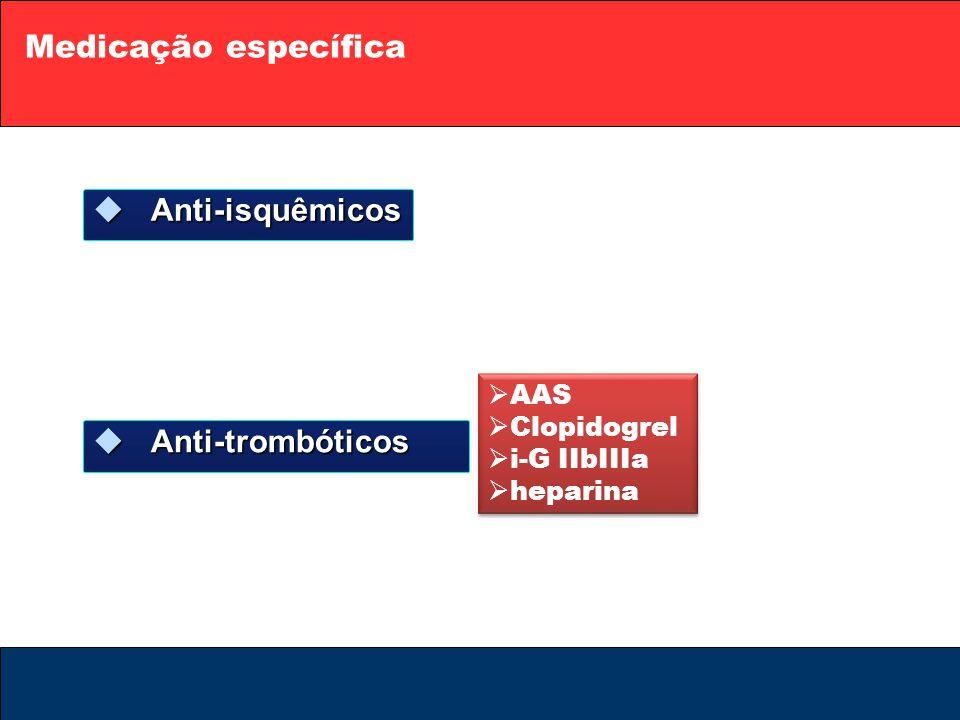 Medicação específica Anti-isquêmicos Anti-trombóticos AAS Clopidogrel