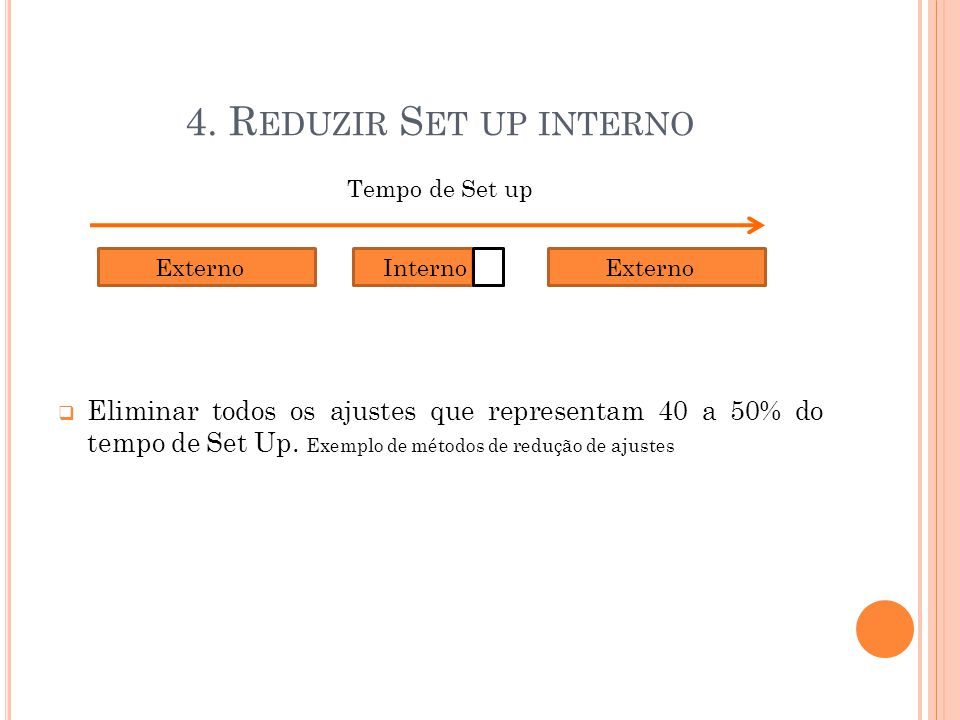 4. Reduzir Set up interno Tempo de Set up.