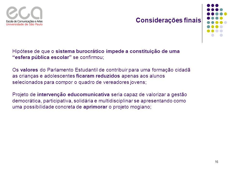 Considerações finais Hipótese de que o sistema burocrático impede a constituição de uma esfera pública escolar se confirmou;