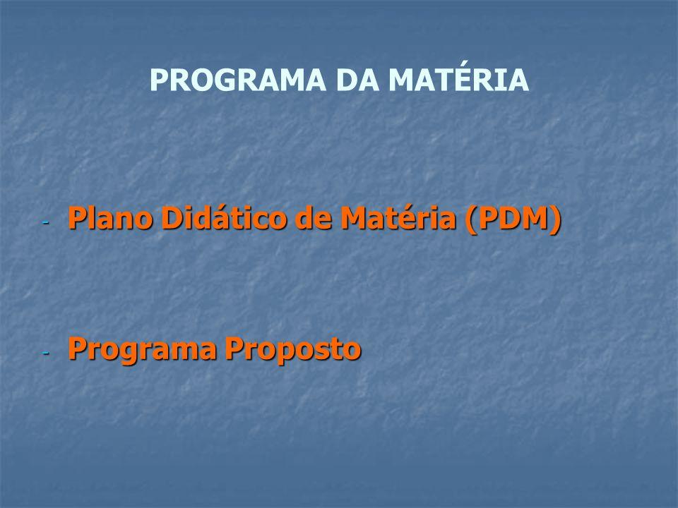 PROGRAMA DA MATÉRIA Plano Didático de Matéria (PDM) Programa Proposto