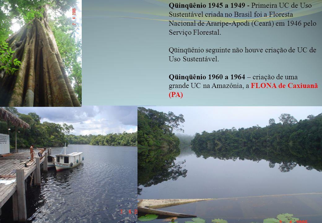 Qüinqüênio 1945 a 1949 - Primeira UC de Uso Sustentável criada no Brasil foi a Floresta Nacional de Araripe-Apodi (Ceará) em 1946 pelo Serviço Florestal.