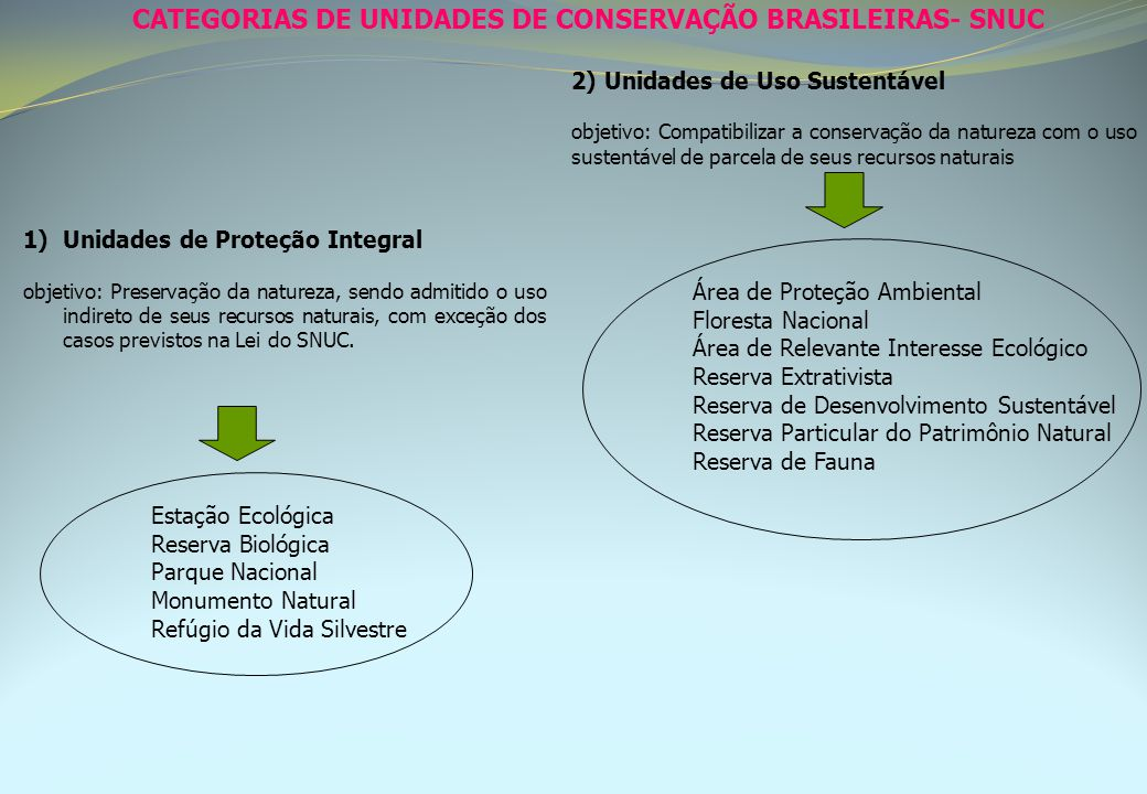 CATEGORIAS DE UNIDADES DE CONSERVAÇÃO BRASILEIRAS- SNUC