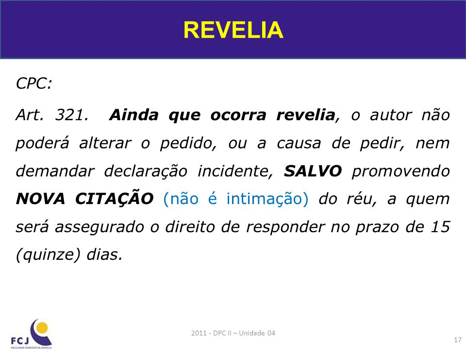 REVELIA CPC: