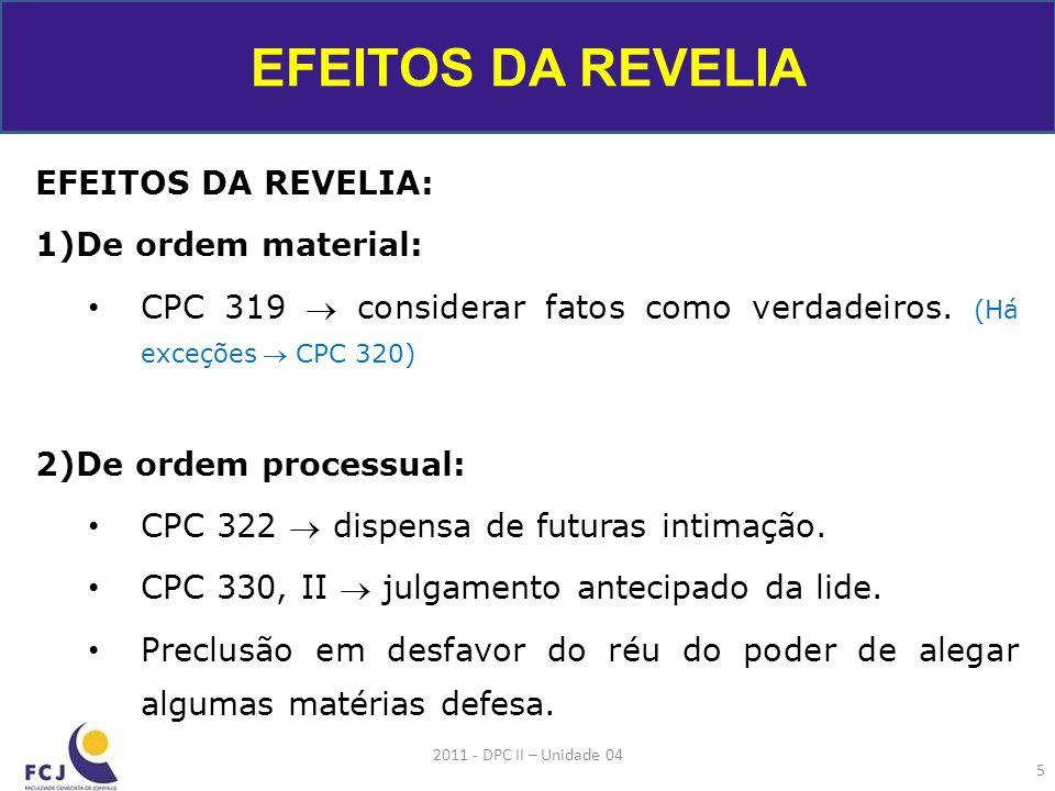 EFEITOS DA REVELIA EFEITOS DA REVELIA: De ordem material: