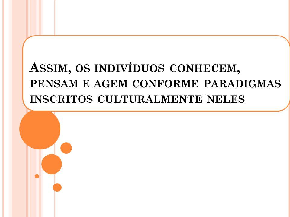 Assim, os indivíduos conhecem, pensam e agem conforme paradigmas inscritos culturalmente neles