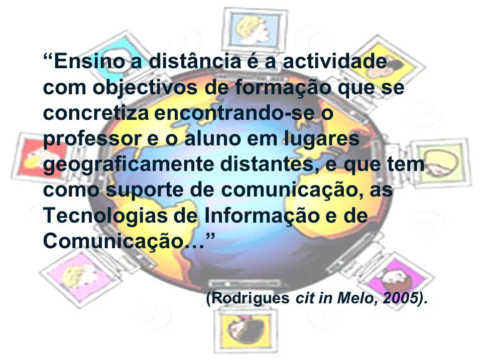 Ensino a distância é a actividade com objectivos de formação que se concretiza encontrando-se o professor e o aluno em lugares geograficamente distantes, e que tem como suporte de comunicação, as Tecnologias de Informação e de Comunicação…