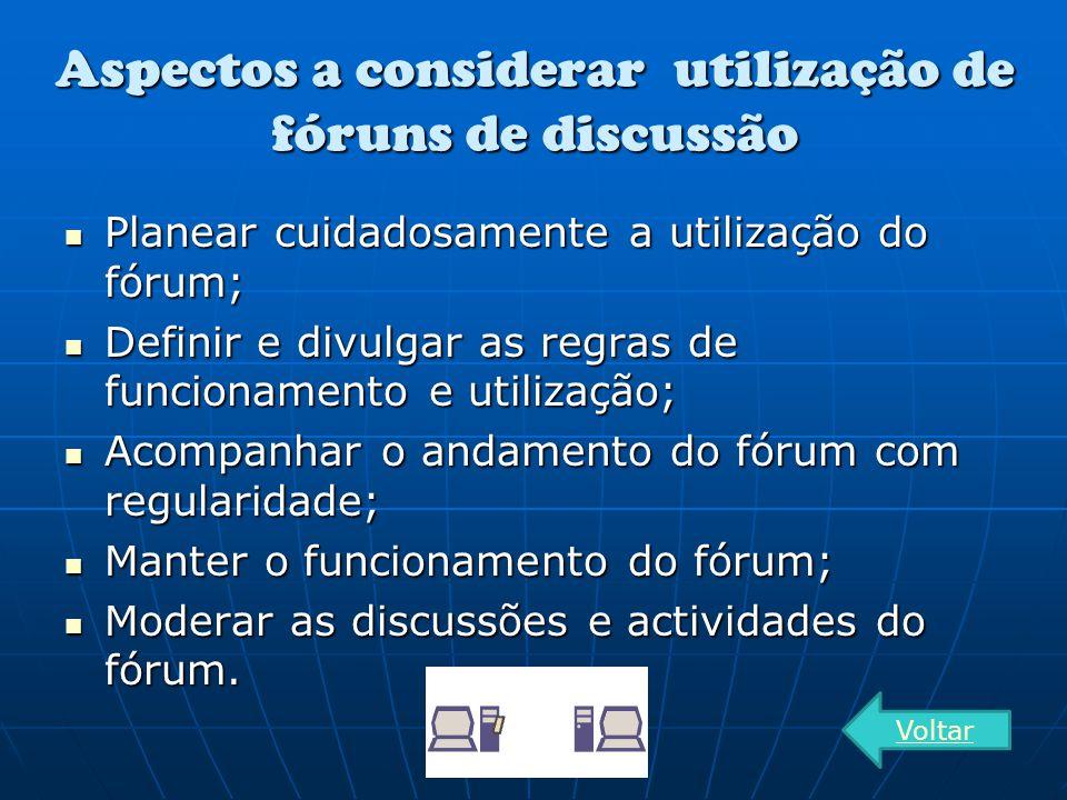 Aspectos a considerar utilização de fóruns de discussão