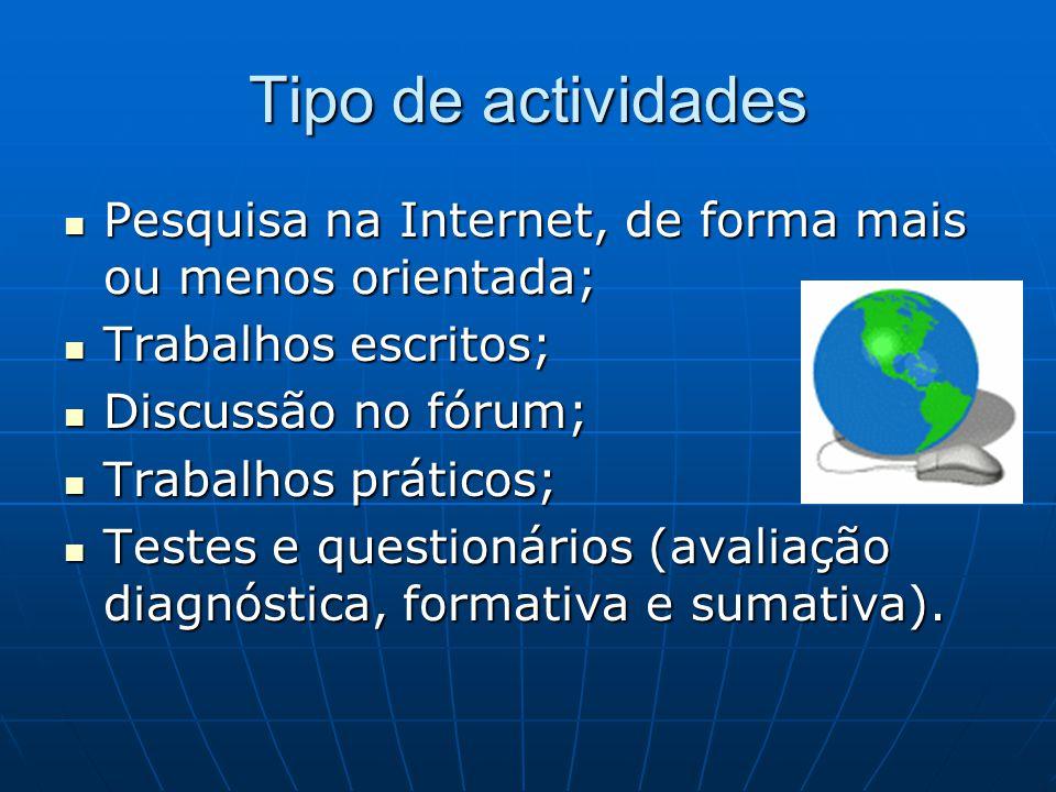 Tipo de actividades Pesquisa na Internet, de forma mais ou menos orientada; Trabalhos escritos; Discussão no fórum;
