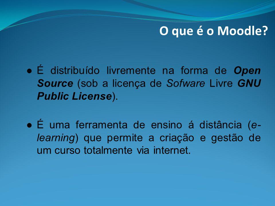 O que é o Moodle É distribuído livremente na forma de Open Source (sob a licença de Sofware Livre GNU Public License).