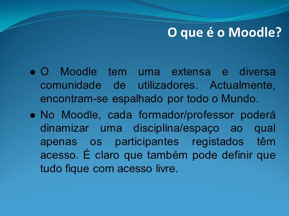 O que é o Moodle O Moodle tem uma extensa e diversa comunidade de utilizadores. Actualmente, encontram-se espalhado por todo o Mundo.