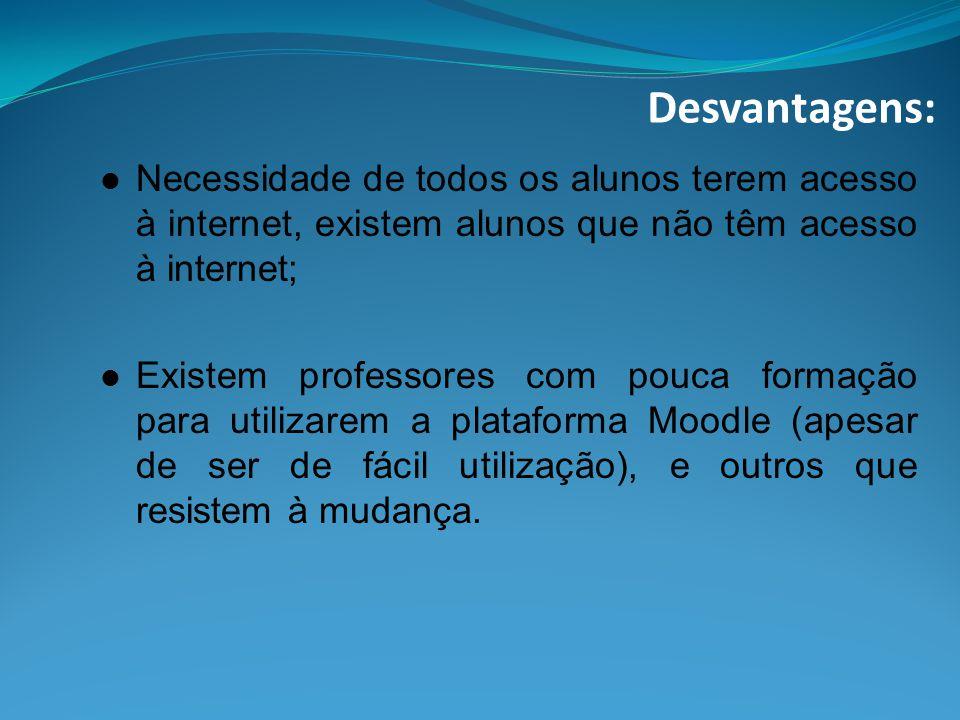 Desvantagens: Necessidade de todos os alunos terem acesso à internet, existem alunos que não têm acesso à internet;