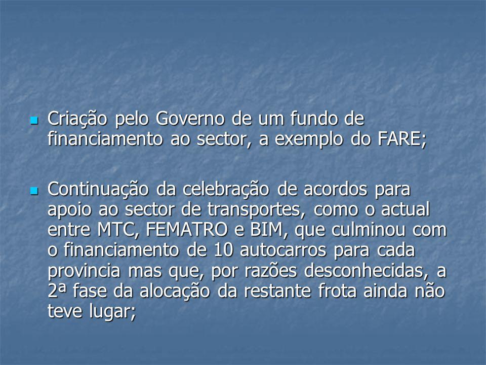 Criação pelo Governo de um fundo de financiamento ao sector, a exemplo do FARE;