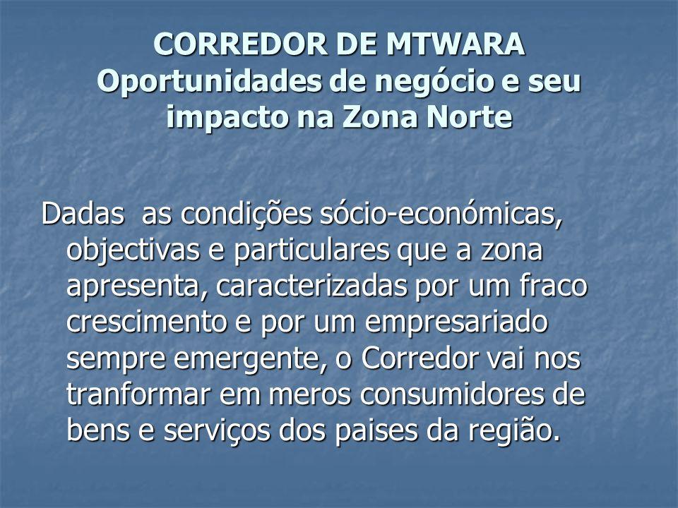 CORREDOR DE MTWARA Oportunidades de negócio e seu impacto na Zona Norte
