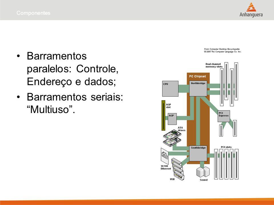 Barramentos paralelos: Controle, Endereço e dados;