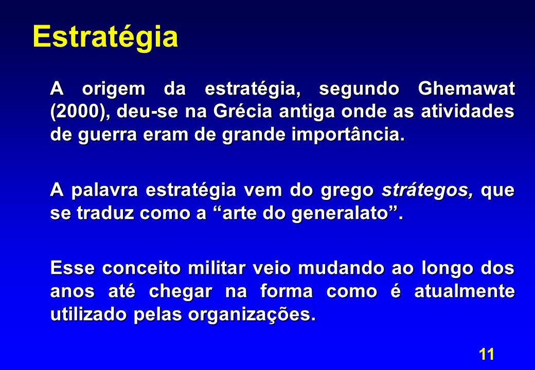 Estratégia A origem da estratégia, segundo Ghemawat (2000), deu-se na Grécia antiga onde as atividades de guerra eram de grande importância.