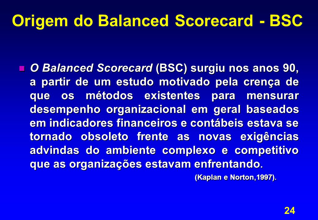 Origem do Balanced Scorecard - BSC