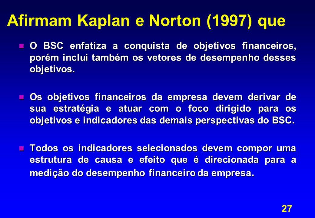 Afirmam Kaplan e Norton (1997) que