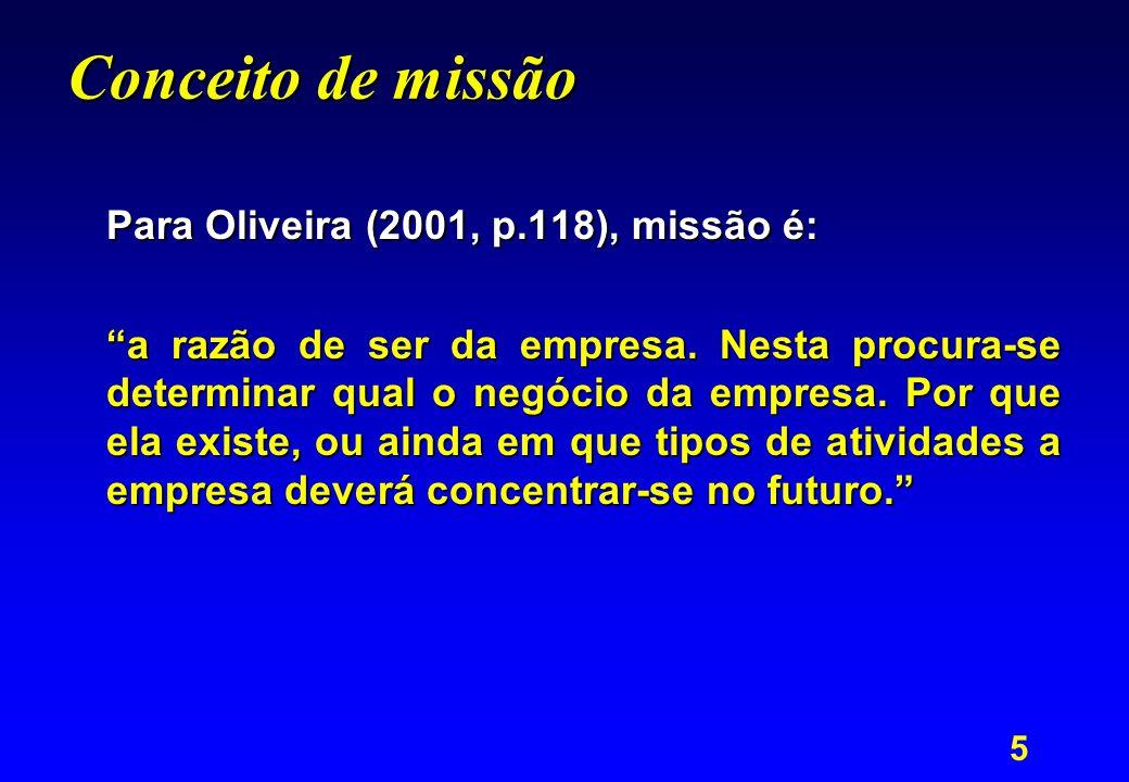 Conceito de missão Para Oliveira (2001, p.118), missão é: