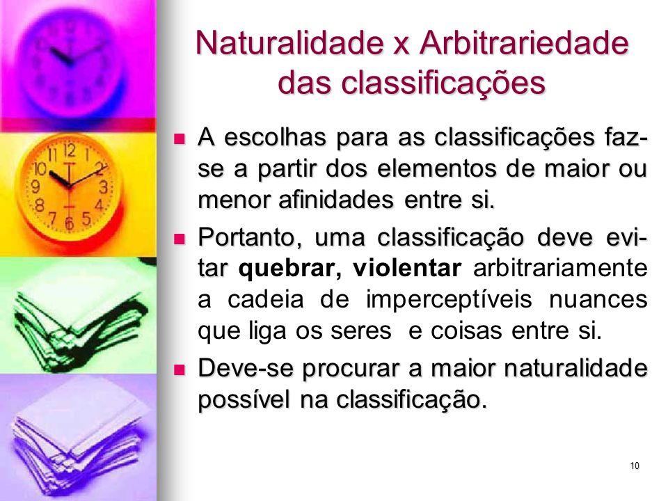 Naturalidade x Arbitrariedade das classificações
